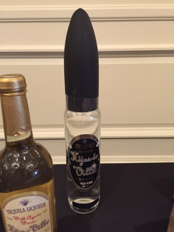 Vodka, in a bullet-shaped bottle.