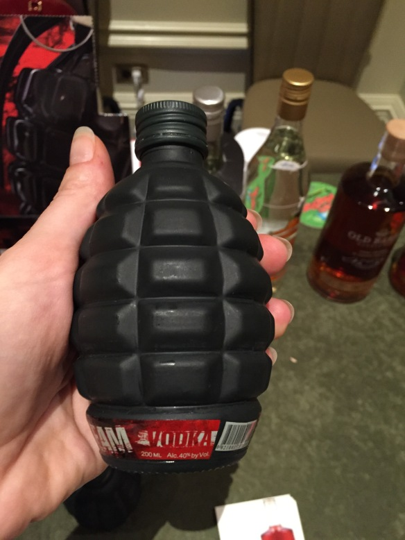 Vodka, in a grenade-shaped bottle. I just don't understand the weapons-hooch connection or why anyone thinks this is a good idea.